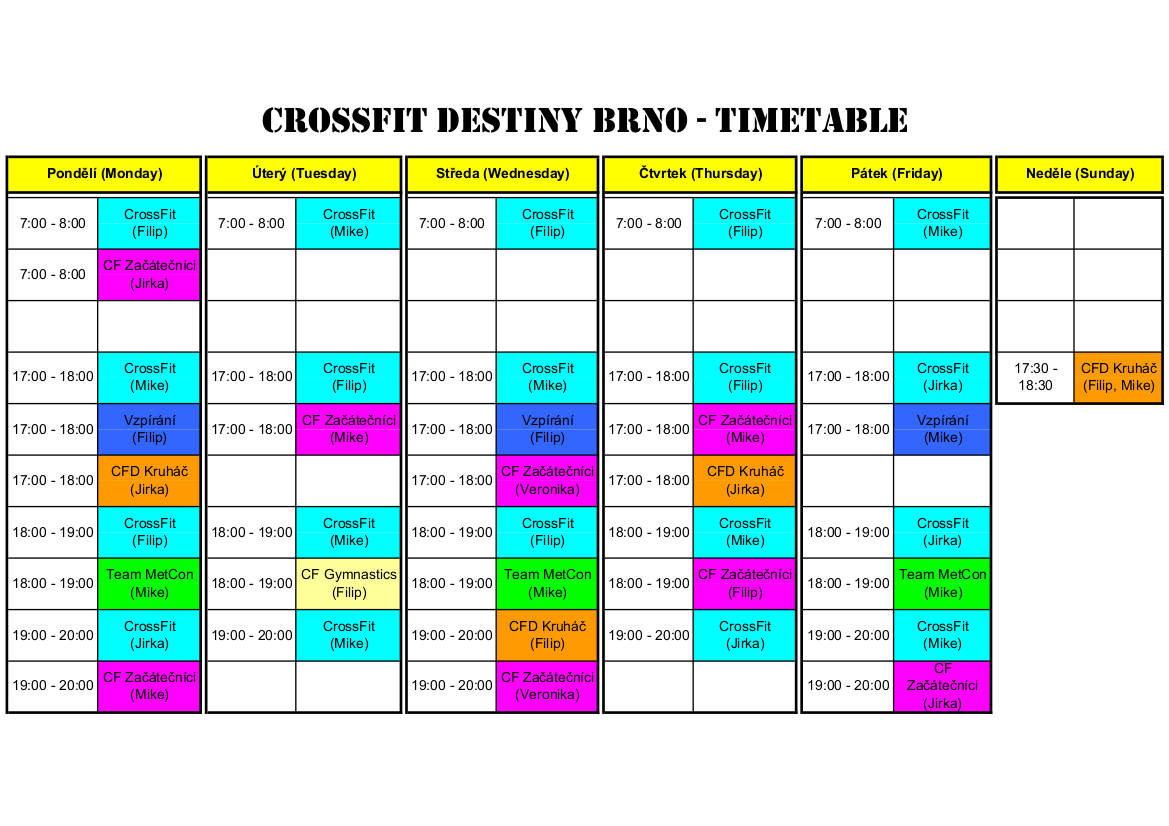 CrossFit Destiny Rozvrh od 1.11.2019